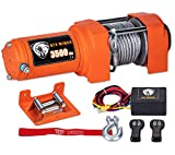 TYT New 3500 lb. Load Capacity ATV/UTV Electric Winch Kit, 12V Electric Winch with 49ft Steel Cable, with Wireless Remote and Clevis Hook Waterproof IP67 Winch(3500lbs Steel Cable)