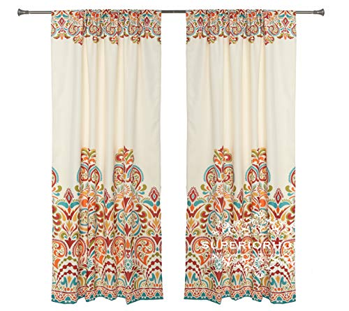 Set of 2 Rod Pocket Brocade Print Curtains, Beige Red Orange Blue Green Window Curtain 52' x 84' (Total W 104') Decorative Curtain Drape Panels - Soft/Heavy Room Darkening Curtains, Clara 84'