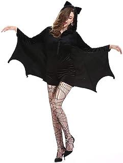 XYFW Disfraces De Halloween para Mujer Murciélago Ángel Caído Demonio Vampiro Vestido De Bruja para Adultos Accesor...