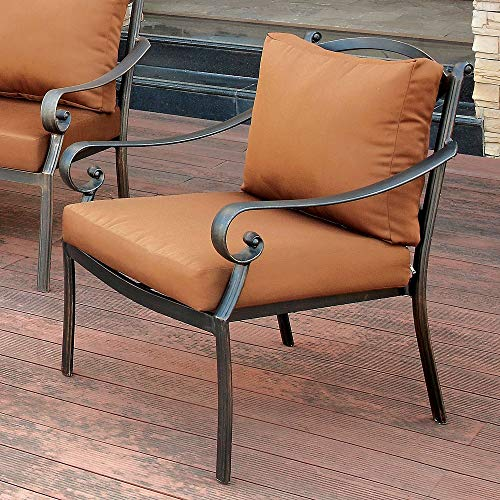 UKN Contemporary Black Fabric Outdoor Armchair Brown Industrial Modern Distressed Cushion Included Water Resistant