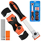 Razor Blade Scraper, 2 PCS Razor Scraper Tool for Removing Label, Registration Sticker, Tint, Grease from Windshield, Appliance, Glass (Extra 20 Metal and 10 Plastic Blades)