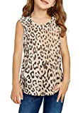 Sidefeel Girls Cute Ruffle Sleeve Shirt Round Neck Leopard Print Sleeveless Blouse Tee Size 10-11 Leopard