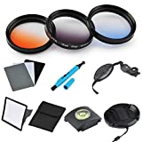 ULATA 40.5mm Orange Blue Gray Color Gradeated Filter Kit Circle Lens Filter For DSLR Camera For For Samsung NX100 NX200 NX210 NX300 Sony A6000 A5100 A5000