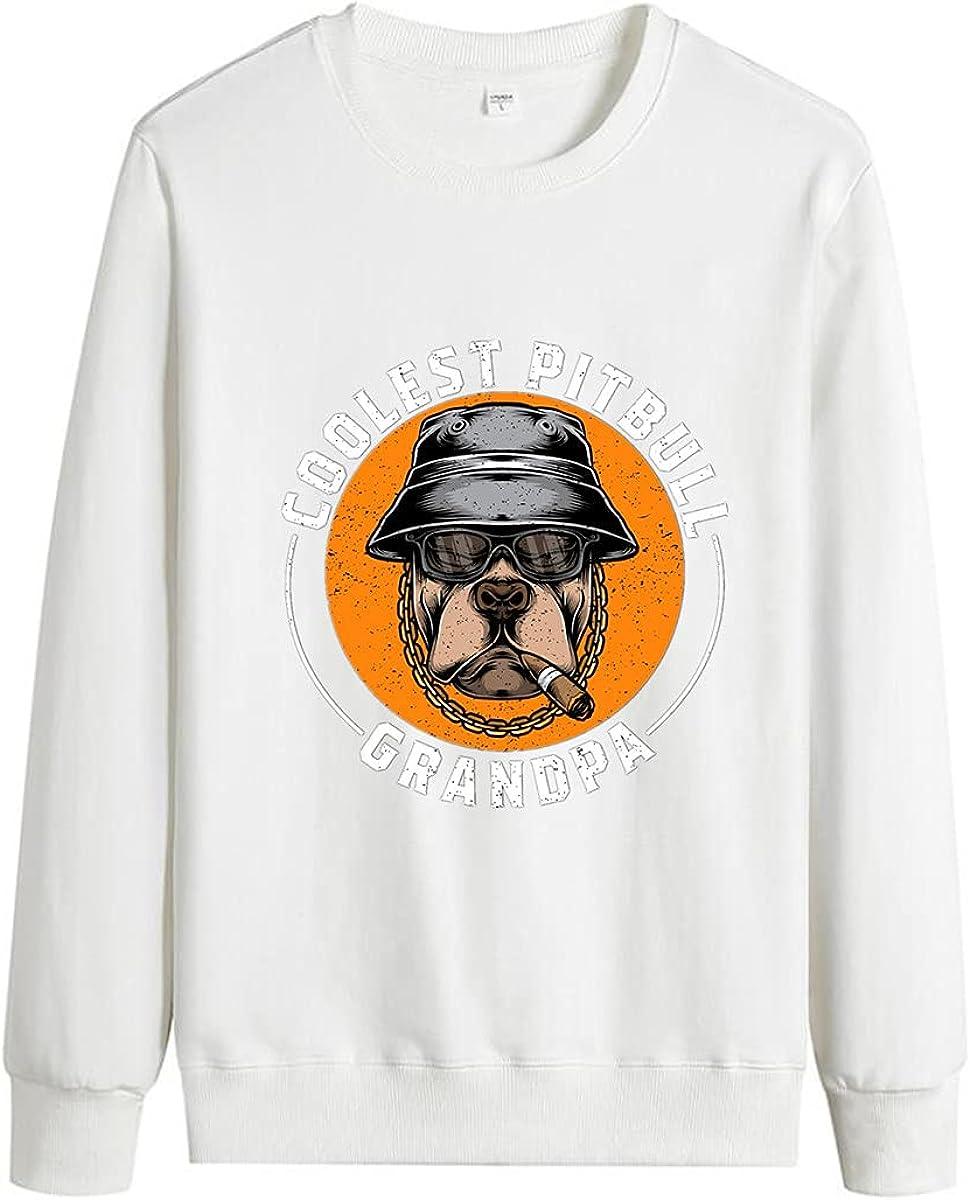 Men's Crew Neck Pullover Comfortable Pure Cotton Grandpa Letter Print Unisex Pullover