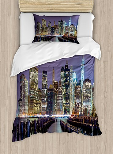 Lunarable New York City Duvet Cover Set, Lower Manhattan Skyline from Across The East River United States of America, Decorative 2 Piece Bedding Set with 1 Pillow Sham, Twin Size, Yellow Lilac