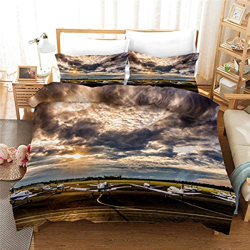 HGFHGD Bettbezug für Kinder und Erwachsene, Motiv: Sonnenuntergang, Wolken, D-Druck, King-Size, Trompeten-Bettbezug, Tagesdecke, Teenager Einzel- und Doppelbett.