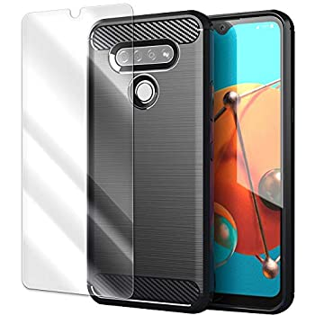 Explosion-Proof Tempered Glass Screen Protector Film + Brushed Texture Soft Back Protection Case Cover for LG K51 LM-K500UM Phone