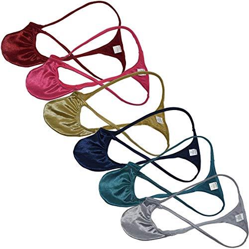 JAXFSTK 6-Pack Men Bikini G-Strings Lingerie Underwear Shiny Spandex Intimates String Mini Jockstrap Pouch T-Back M