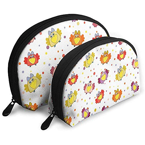Cartoon Chick Seamless Pattern Tragbare Taschen Make-up Kulturbeutel Multifunktions Tragbare Reisetaschen Kleine Make-up Clutch Pouch
