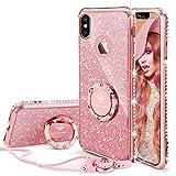 OCYCLONE Fundas para iPhone X,Purpurina Ultra Slim Fundas iPhone x,Soft TPU Carcasas Movil con Glitter Dimante Anillo de Teléfono Protectora Apple iPhone X,iPhone 10 para Mujer,Oro Rosa