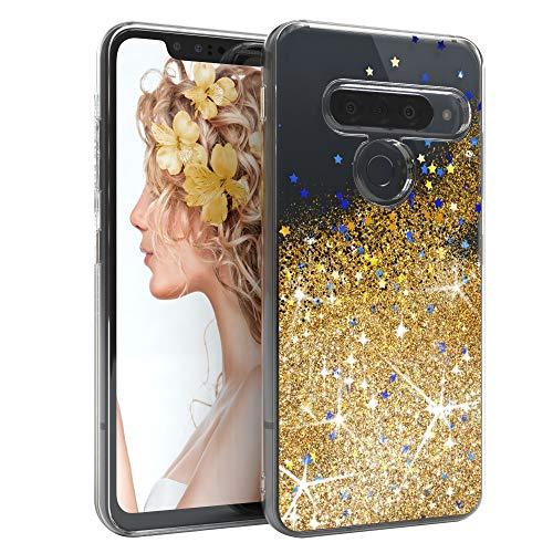 EAZY CASE Hülle kompatibel mit LG G8 ThinQ Schutzhülle mit Flüssig-Glitzer, Handyhülle, Schutzhülle, Back Cover mit Glitter Flüssigkeit, TPU/Silikon, Transparent/Durchsichtig, Gold