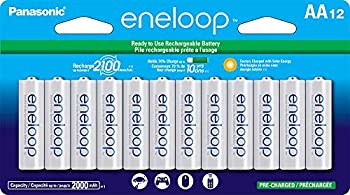 Panasonic BK-3MCCA12FA eneloop AA 2100 Cycle Ni-MH Pre-Charged Rechargeable Batteries 12 Pack