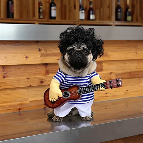 DELIFUR Pet Guitar Costume Dog Costumes Halloween Christmas Cosplay Party Funny Outfit...