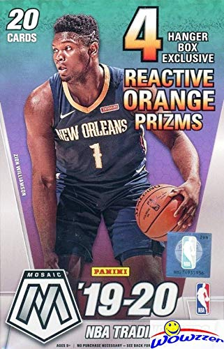 2019/20 Panini MOSAIC NBA Basketball EXCLUSIVE Factory Sealed HANGER Box with (4) REACTIVE ORANGE PRIZMS! Look for Rookie Autos of ZION WILLIAMSON, Ja Morant, RJ Barrett & Many More! WOWZZER!