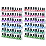 wall acrylic nail polish rack - NIUBEE 12 Pack Nail Polish Rack Wall Mounted Shelf with Removable Anti-Slip End Inserts, Clear Acrylic Nail Polish Organizer Display 180 Bottles