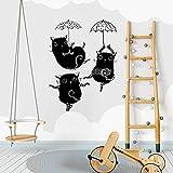 zhuziji Pegatinas de Pared de Cocina Blancas Mixedcute Dancing Cat Baby Girl Último Dormitorio nórdico, Campus, jardín de Infantes con Vinilo Pvc56X76Cm