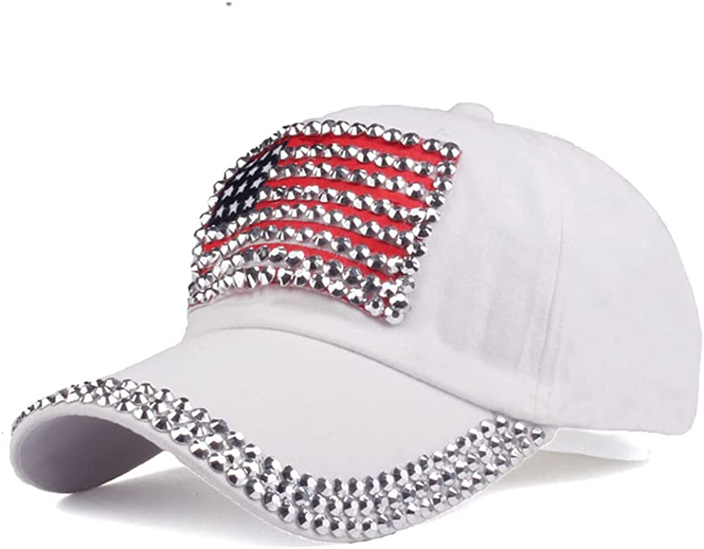 USA Bling Baseball Cap Sparkle American Flag Point Drill Hat Men Women Diamond Rivet Hip Hop Casual Caps