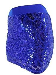 Royal Blue Sequins Pattern Mini Skirt
