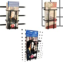 Slatwall, Pegboard & Gridwall Black Multi-fit Tri-Fold Pamphlet Literature Holder, 2 Pack