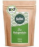 Proteine di riso Bio - 80% proteine - 1kg - fonte proteica vegana - senza additivi - senza glutine, soia e lattosio - confezionato è controllato in Germania (DE-eco-005)
