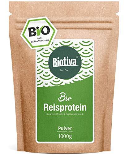protéine de riz bio (1 kg) - 100% pure organique - végétalien sans additifs - pas de gluten, de soja ou de lactose - haute BCAA - bouteille et contrôlés en Allemagne (DE-ÖKO-005)