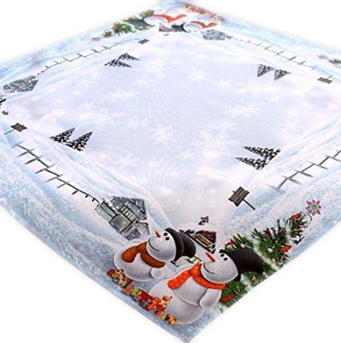 Tischdecke weiß bunt 85 x 85 cm Schneemänner Weihnachtsmotiv Weihnachtstischdecke Mitteldecke Weihnachtsdeko