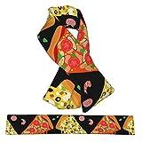 Bufanda de forro polar suave y cálida para el cuello con lazo cruzado, esponjosa impresión 3D de pizza, patrón sin costuras, bufandas de invierno para niñas, niños, mujeres y hombres