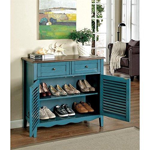 Furniture of America Alton Storage Shoe Cabinet in Blue
