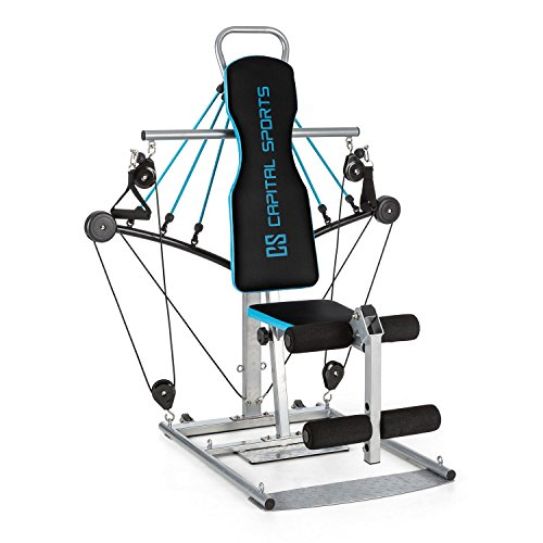Capital Sports Tubey Mini Kabelzugstation Homegym (Gummiseilzüge, Curls, Cable Cross, Rudern, Seilziehen, gelenkschonendes Training) Silber
