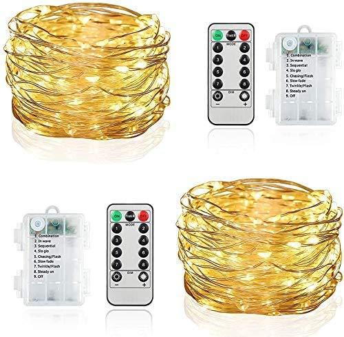 2 Stück LED Lichterketten 10 M 100 LED Lichterkette, 8 Modi Fernbedienung Außen Innen Lichterschlauch für Weihnachtsbeleuchtung Festliche Hochzeit Schlafzimmer Dekorationen (10M)