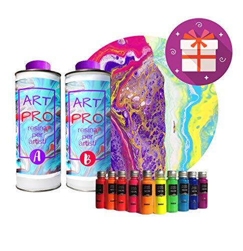 Art Pro Resina Transparente para Artistas DE 1,6 KG + Kit DE 10 PIGMENTOS NEÓN. Ideal para POUR Pintar Y RESINAR-Arte