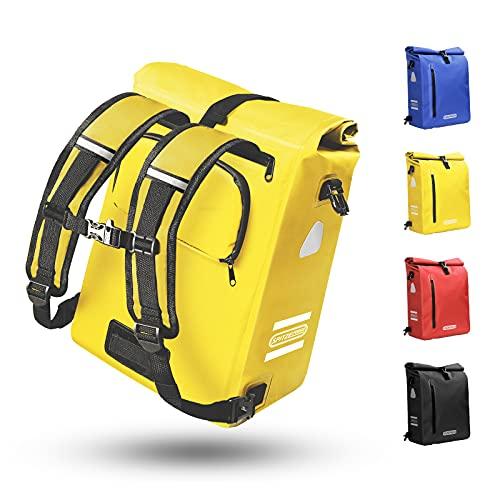 Fahrradtasche für Gepäckträger 3in1 Geeignet als Gepäckträgertasche, Rucksack und Umhängetasche 100{2d79b65d9e15f7f0fa98a155c64a330b6b262c2a3940acf0be26b42f0a0ee4c3} Wasserdicht 25L Fahrradtaschen mit 4 Reflektoren für Pendeln, Einkaufen, Radtour