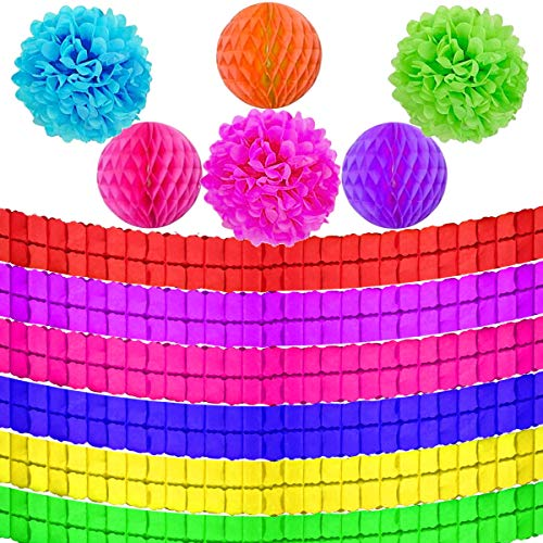 Jyongmer 12pcs Party Decorations Kit-Colorful Four-Leaf Clover Paper Tissue Hanging Garland,Paper Pom Poms Flowers and Honeycomb Balls for Birthday Decorations Party Supplies,Rainbow Party Supplies