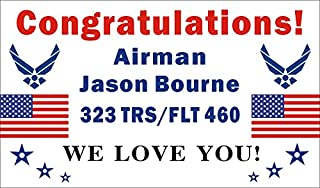 Alice Graphics 3ftX5ft Custom Personalized Congratulations Airman U.S. (US) Air Force Basic Military Training Graduation Banner Sign Poster