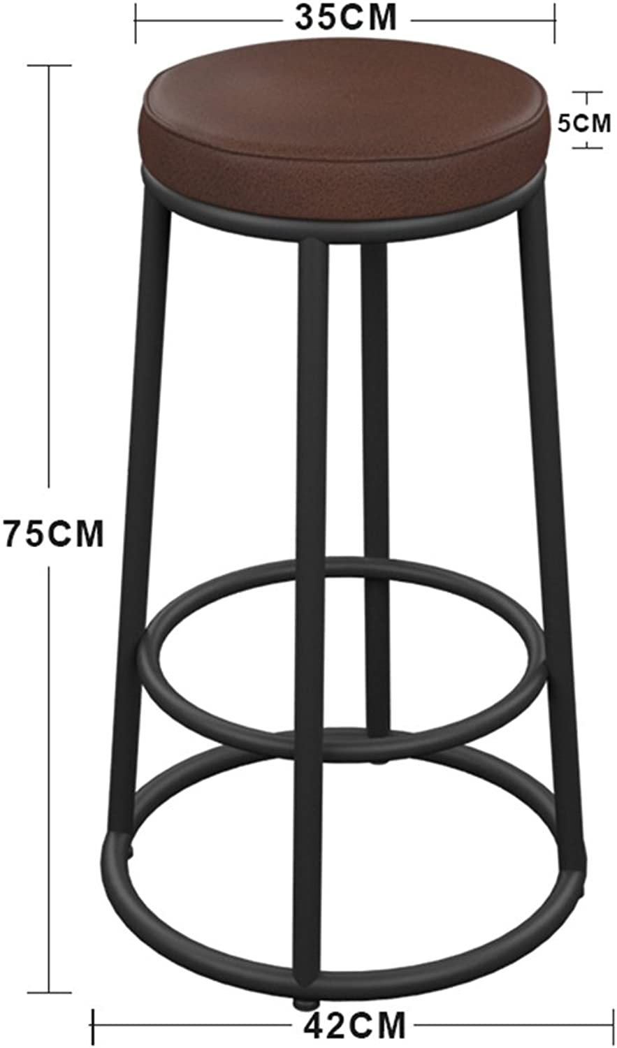 Iron Solid Wood Leatherette Cushion Seat Bar Chair Simple Bar Household High Stool American Style Retro Bar Stool (color   1, Size   42  75cm)
