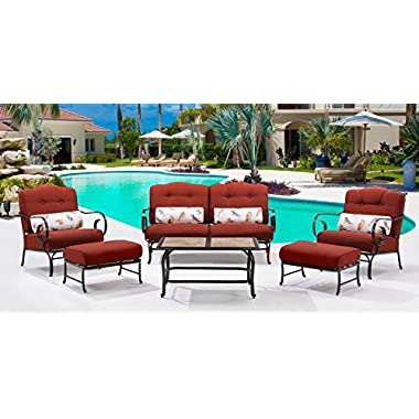 Oceana 6-Piece Patio Set in Crimson Red with a Tile-top Coffee Table
