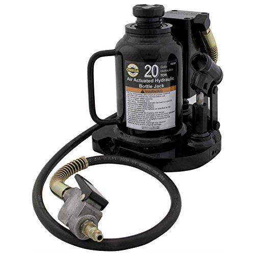 Omega 18209C Black Low Profile Hydraulic Welded Bottle Jack - 20 Ton Capacity