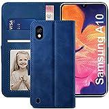 YATWIN Funda Samsung Galaxy A10, Cuero Premium Flip Folio Carcasa para Samsung A10, Bloqueo RFID, Soporte Plegable, Ranura para Tarjeta, Cierre Magnético, Compatible para Galaxy A10 - Azul