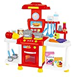 Jingyi Jugar Role Toy, Kids Play Role Simulation Cocina Cocina Juguetes Girl Light Music Vajilla Sets Music Toy(Rojo)