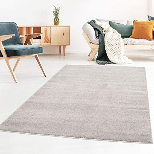 Taracarpet Kurzflor-Designer Uni Teppich extra weich fürs Wohnzimmer, Schlafzimmer, Esszimmer oder Kinderzimmer Gala grau 120x170 cm