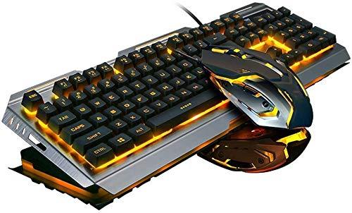 DC Wesley Gaming Keyboard Mouse Set, Teclado con Cable USB Y 7 Colores De Respiración del Ratón Conjunto De Conjunto, De Metal A Prueba De Agua del Teclado Ergonómico del Juego, For PC Portátil Mac