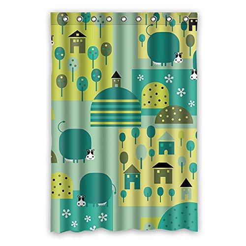 Einmal Young Cartoon Schweine Muster Custom Grau Wasserdicht Polyester-Badezimmer-Dusche Vorhang 121,9x 182,9cm (120x 183cm), Polyester, K, 48