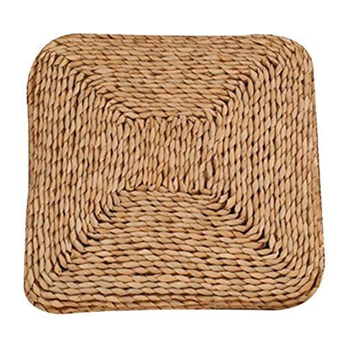 Fablcrew Strohkissen, gewebtes Tatami-Bodenkissen, Pouf Yoga-Sitzkissen, gestrickter Binse-Flacher Sitz-Kissen Stroh Futon-Kissen für Zen, Yoga