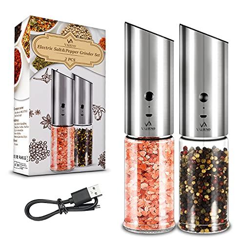 Valieno Salz und Pfeffermühle Elektrische 2er- Set, Gravity Automatischer Betrieb Salz und Pfeffermühle Gewürz mit LED-Licht, Nachfüllbar, Kompaktes Design, Einstellbare Grobkörnigkeit, USB aufladbar