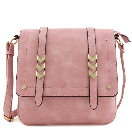 Double Compartment Large Flapover Crossbody Bag Dusty Pink