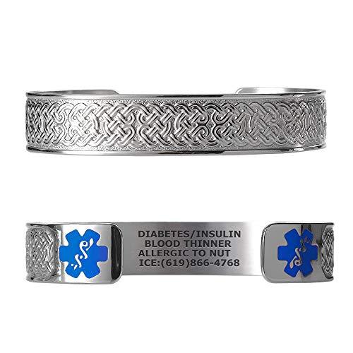 Divoti Custom Engraved Medical Alert Bracelets for Women, Stainless Steel Medical Bracelet, Medical ID Bracelet w/Free Engraving – Celtic Knot w/ 6' Cuff (fits 6.5-8.0') - Light Blue