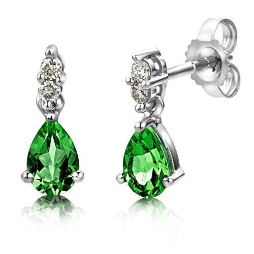 Miore pendientes en gota en oro blanco de 9 kt 375 con esmeraldas verdes forma de pera y diamantes naturales talla brillante 0,08 ct