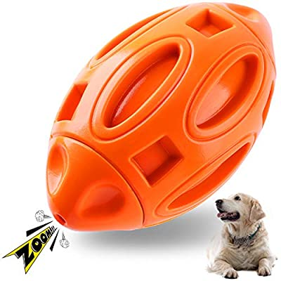 Apasiri Dog Chew Toys Squeaky Toy for Aggressive Chewers Indestructible Ball for Medium Large Breed Tough Dog Toys for Extreme Chewers Boredom Long Lasting Interactive Rubber (Orange)