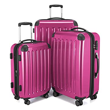 HAUPTSTADTKOFFER Luggages Sets Glossy Suitcase Sets Hardside Spinner Trolley Expandable (20', 24' & 28') TSA (Pink)