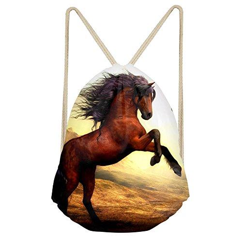 Mochila con cordón para gimnasio de Chaqlin, diseño de caballo (personalizable), hombre, S-CC6012Z3, White horse